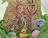 Peter Rabbit raiding Mr. Mc Gregor's garden  small Panoramic Sugar egg