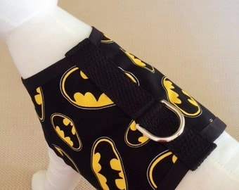 Batman Dog Harness Vest Made From Licensed Fabric