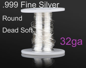 32 gauge Fine Silver Wire 20ft, 999 fine silver wire, wholesale Jewelry Wire Supply(4032-20)