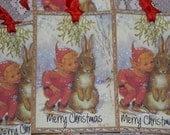 Christmas Tags Elf and Bunny, Holiday Tags, Vintage Christmas Tags, Christmas Gift Tags