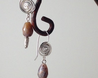 Spiraled Sterling Agate Earrings
