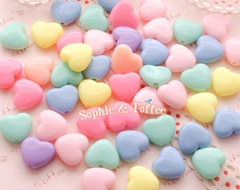 Pastel Heart Beads in Candy Color (13mm) / Pastel Beads / Acrylic Heart Beads - 50g (82pcs approx.)
