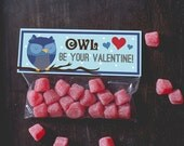 Printable treat topper valentine's day Owl blue boy Valentines Classroom  candy bag top print at home INSTANT DOWNLOAD