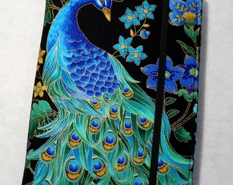 Kindle Cover Hardcover, Kindle Paperwhite Cover, Kindle Fire cover, Nook cover, iPad Mini Cover Book Style, Peacock