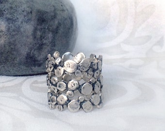Stacking bubble band ring in Sterling Silver, set of 3