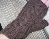 Wool Cable Knit Fingerless Gloves Chocolate
