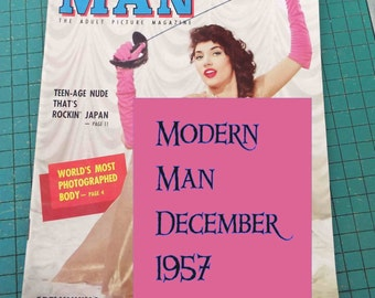 Modern Man, December 1957, vintage adult picture magazine, man cave,
