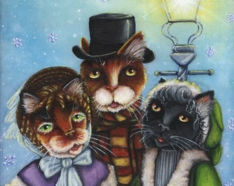 Victorian Cat Carolers Christmas Holiday Winter 8x10 Fine Art Print CLEARANCE