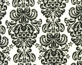Black and White Damask Minky Cuddle Fabric by the yard - SALE