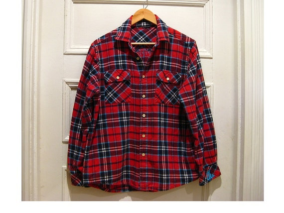 90s vintage red navy flannel shirt grunge 1990s by ecocentrik for Navy blue and red flannel shirt