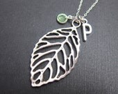 Leaf filigree Necklace - Handstamped Initial, Personalized Name, Customized Swarovski crystal birthstone