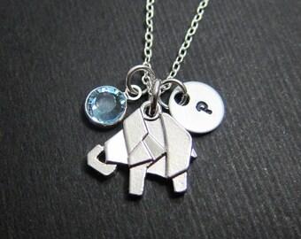 Origami Elephant Necklace - Personalized Baby Bird Initial Name, Customized Swarovski crystal birthstone