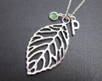 Leaf filigree Necklace - Handstamped Initial, Personalized Name, Customized Swarovski crystal birthstone