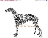 Greyhound Dog Art Typography Dog Calligram, Greyhound Art Print, Dog Illustration or Pet Portrait, Dog Drawing Art Print, Greyhound Print