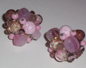 Vintage Pink Earrings with Glass Beads - Clip Ons
