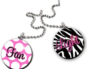 FAN PULLS Hot Pink Zebra Print and Polka Dots