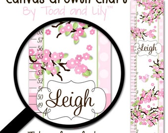 Canvas GROWTH CHART Cherry Blossom Birdie Girls Bedroom Baby Nursery Bedroom Wall Art GC0006