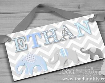 Boys Bedroom Baby Nursery Blue and Grey Chevron Elephant DOOR SIGN DS0121