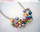 CHRISTMAS GIFT Sale Chain of Pastel Colored Pearls Necklace by Debbie Renee, Beaded Necklace, Pearl Necklace