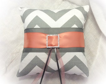 Custom RING BEARER PILLOW -  Gray Chevron, Grey and Coral Ring Pillow, Rhinestone Buckle, Custom colors available