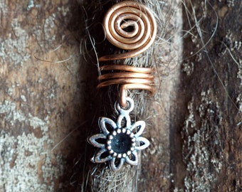 Copper Flower Charm ADD to your DREADS Dreadlock Accessory Extension Accessories Dread Boho Bohemian Hippie Bead