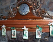 Prmitive Folk Art St. Patrick's Day Garland - Glass Glittered Vintage Images, Hang Tags on Vintage Tinsel ofg hafair faap