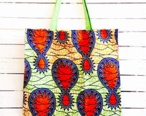 Shopping tote wax print Orange Green Blue
