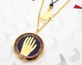 Reaching Hands Locket Necklace