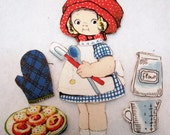 Children's   Fabric Paper Doll playset  travel church toy  Penny Rose Bakery  Cindy