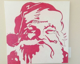 24x24 inch Vintage Red Santa, Glittered, on Canvas