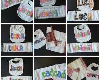 Personalized Burp and Bib Set - in your choice of colors by Tried and True Designs on Etsy