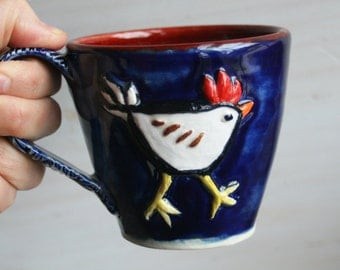 Whimsical Chicken Mug Hand Sculpted Chicken Walking on Mug Handcrafted Pottery Coffee Cup Ready to Ship Made in USA