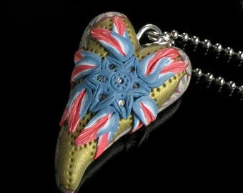 Heart of the Patriot Necklace, Polymer Clay Jewelry, Unique Heart Pendant, Unique Handmade Jewelry Gift for Women, Womens Gift, Gift for Her