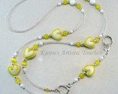 Yellow White Heart Beaded Lanyard ID Badge Holder