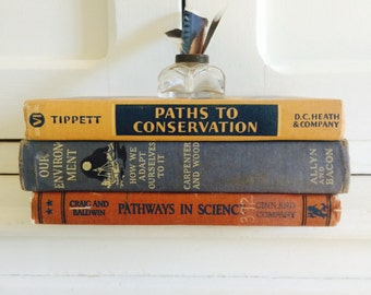 Vintage Natural Science School Library Book Set