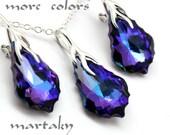 Violet Purple Blue Jewelry Set Baroque 22mm Swarovski Crystal Sterling Necklace Earrings Choose Color Peacock Bridal Bridesmaids Wedding