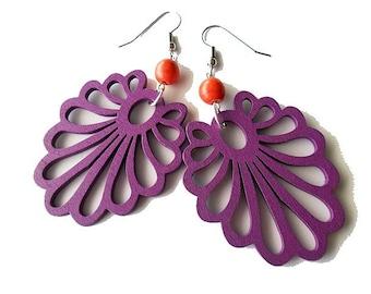 Purple and Red Wooden Fan Earrings, gypsy, boho