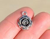 BULK 50 Silver Rose Flower Charms SC3054