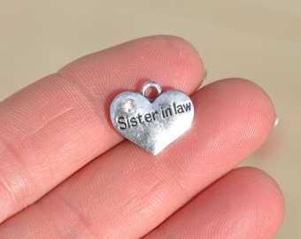 5 Silver Sister in Law Heart Shaped Charms SC2549