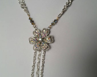 Vintage Style Rhinestone Flower Double Chain Necklace Wedding OOAK