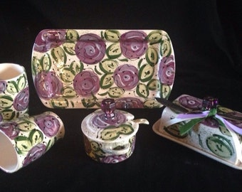 Purple passion cabbage rose sm rectangle platter