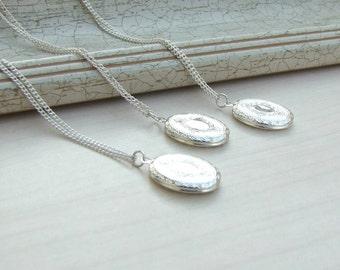 Silver Locket, Four Silver locket, Oval locket,Wedding Gift, Bridesmaids Locket, Bridesmaids Locket, Keepsake Jewelry, wedding gift