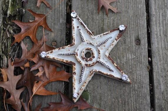 Rust And Rhinestone Star Rustic Star Home Decor Embellished