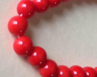 "Opaque Orange Czech Glass Beads  16""strand"