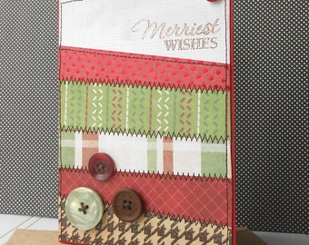 Christmas Holiday Card with Matching Embellished Envelope - Quilted Christmas