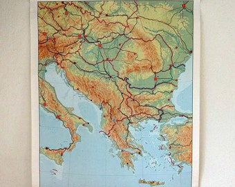 vintage wall chart, Dutch educational poster with map of Southeastern Europe