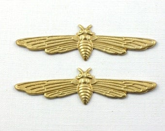 2 brass MOTH jewelry embellishment . 2.25 inches (FF26)