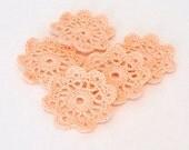 Mini Crochet Doilies in Peach Applique Embellishment