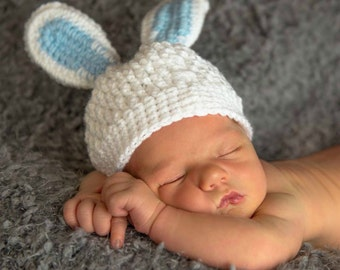 White Newborn Baby Boy Bunny Hat, 0 to 3 Month Baby Girl Easter Bunny Hat