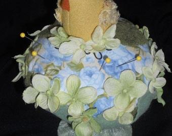 Spring garden pincushion, handmade chick pincushion, Spring garden pincushion